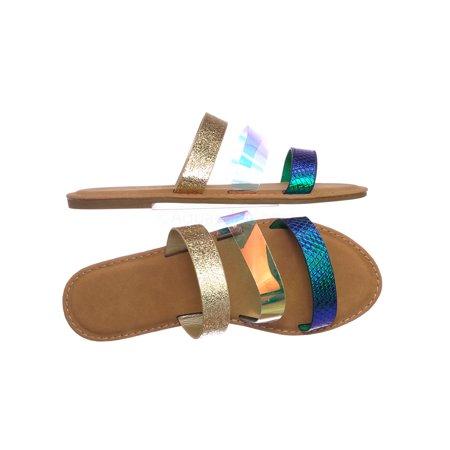 Print Slide - Shoreline91 by Bamboo, 3 Strap Slide In Flat Sandal-Lucite Clear Neon Hologram Snake Print