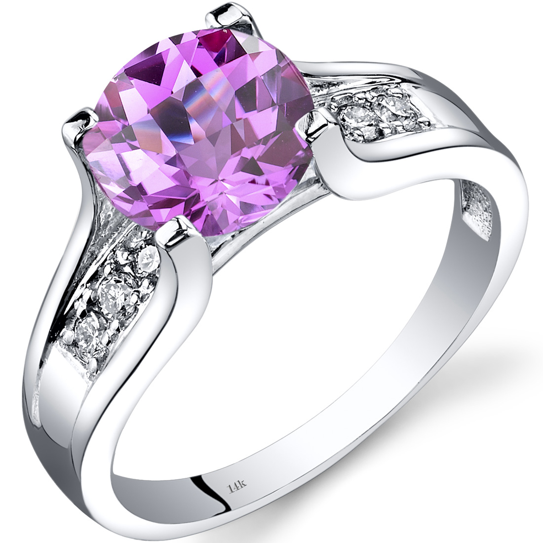 Peora 2.5 Carat T.G.W. Round-Cut Created Pink Sapphire and Diamond Accent 14kt White Gold Ring Size 7 by