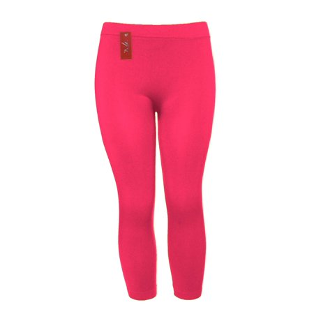 Capri Spandex Tie - Nylon Spandex Seamless Womens Capri Leggings, Hot Pink