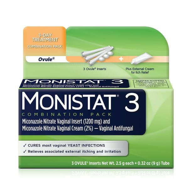 Monistat 3 Dose Yeast Infection Treatment 3 Ovule Inserts External Itch Cream Walmart Com Walmart Com