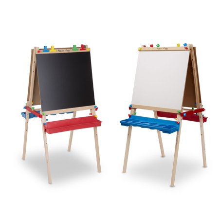 Whiteboard Stand - Melissa & Doug Deluxe Standing Art Easel, Dry-Erase Board, Chalkboard, Paper Roller