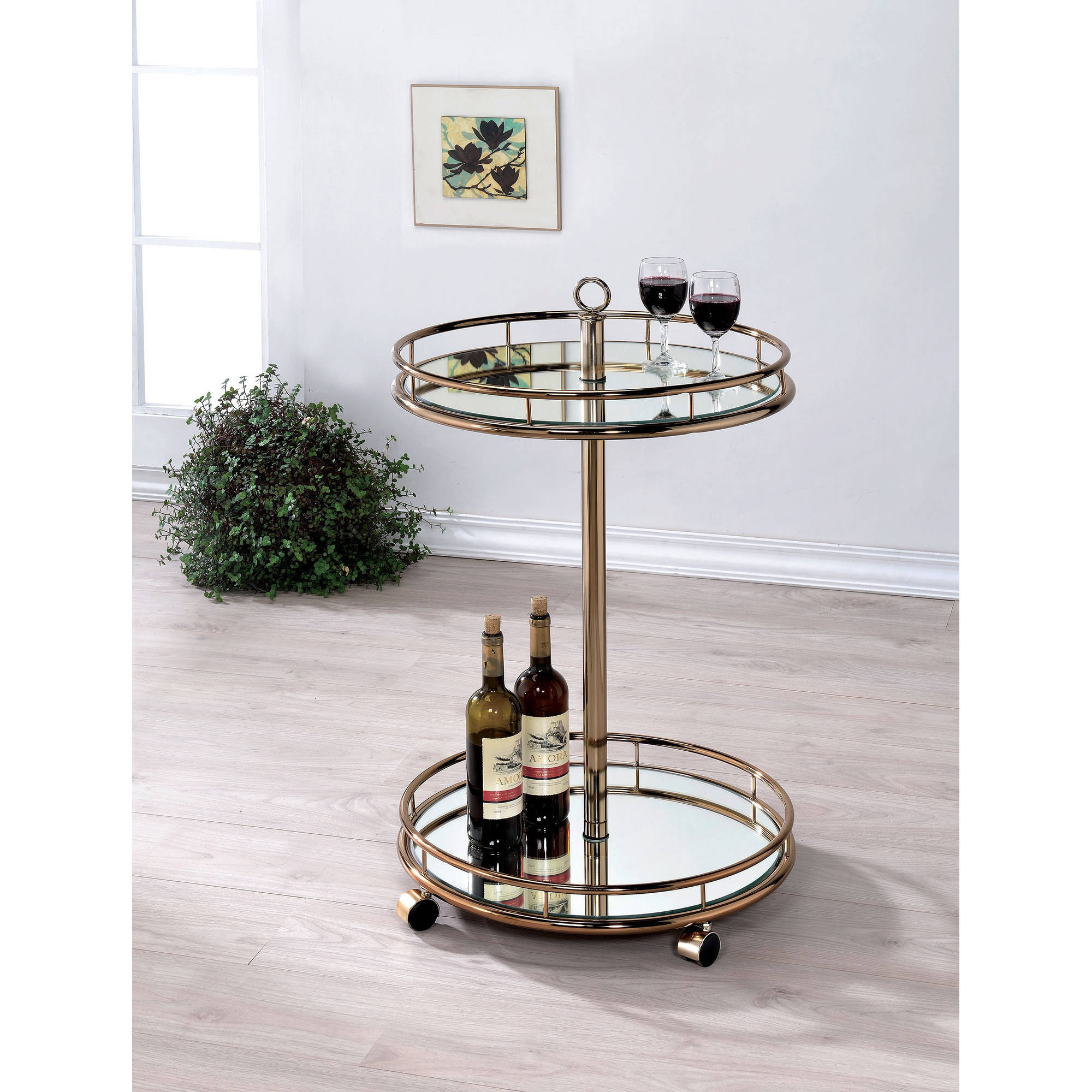 Furniture of America Hargrove Round Serving Cart
