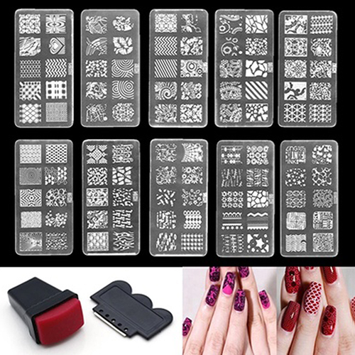 Girl12Queen Nail Art Stamp Stencil Stamping Template Plate Set Tool Stamper Design Kit