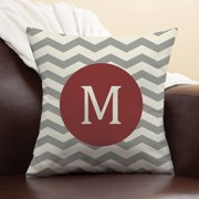 Personalized Chevron Initial Pillow, Wine