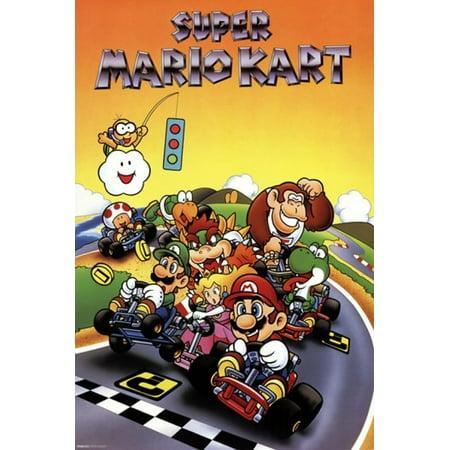 Super Mario Kart Retro Poster Print 24 X 36 Walmart Com