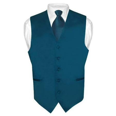Men's Dress Vest & NeckTie Solid BLUE SAPPHIRE Color Neck Tie Set for Suit (Sapphire Tuxedo)