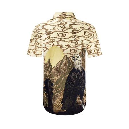 Khaki Xl Model (NEW Men Sublimation Butto Down Shirt Eagle Wester Desert Sizes S-XL Beige Khaki)