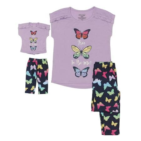 - Girls' Saint Eve Girl's Butterfly 2 Piece Pajama Sleep Set with Matching Doll Pajama (Little Girl & Big Girl)