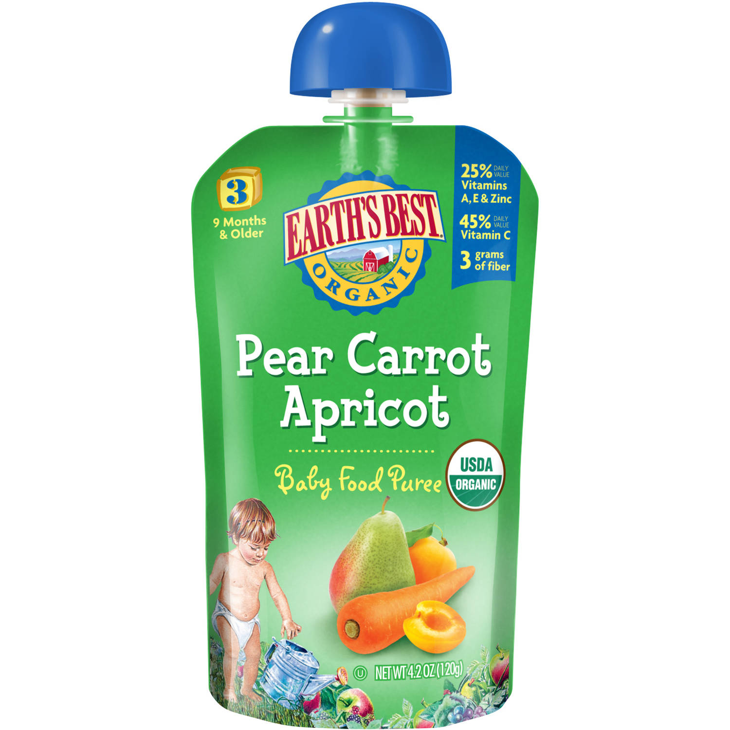 Earth's Best Organic Pear Carrot Apricot Baby Food Puree, 4.2 oz, (Pack of 6)