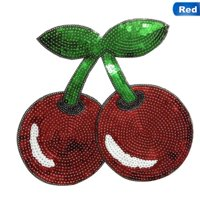 KABOER Fruit Patch Sequins Red Cherry Iron On Patches For Clothing Diy Crafts