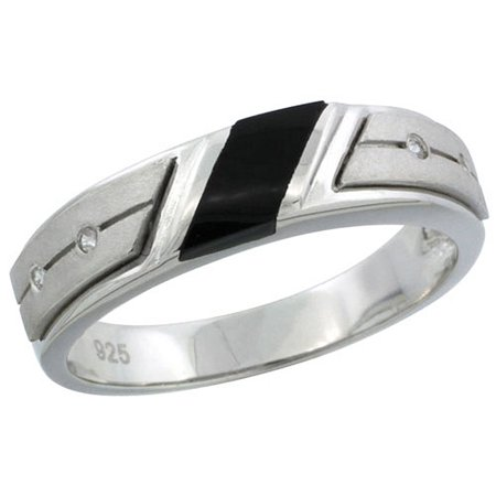 Mens Sterling Silver Onyx Ring (Sterling Silver Cubic Zirconia Mens Wedding Band Ring Black Onyx, 7/32 inch)