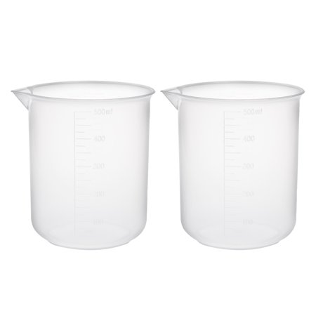 2pcs Measuring Cup Labs PP Graduated Beakers 500ml