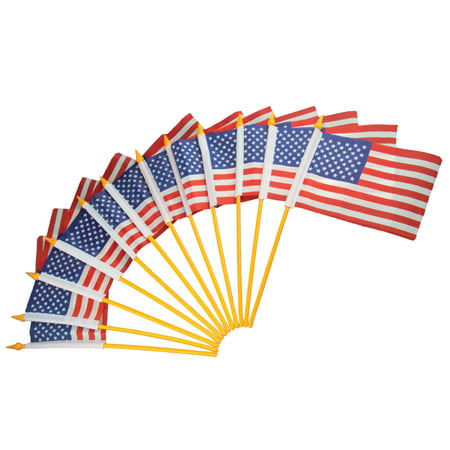 Plastic American Flags 4x6 12 Pack