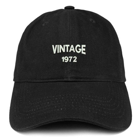 Trendy Apparel Shop Small Vintage 1972 Embroidered 46th Birthday Adjustable Cotton Cap