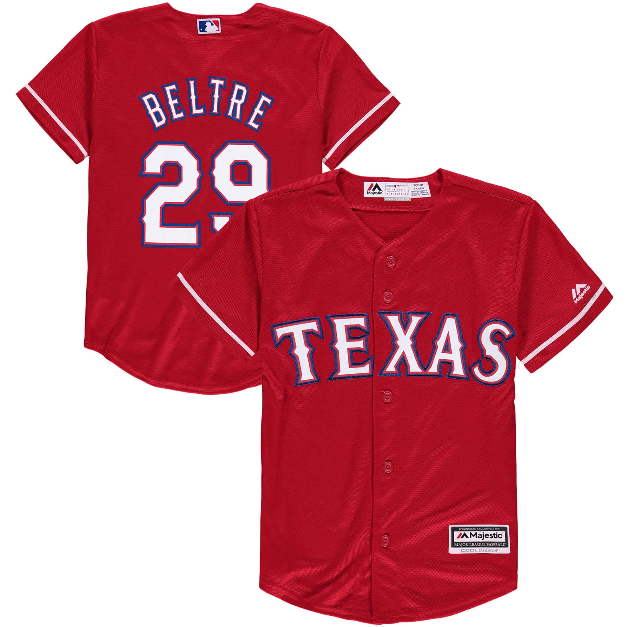 Adrian Beltre Texas Rangers Majestic Youth Alternate Official Cool Base Player Jersey - Scarlet