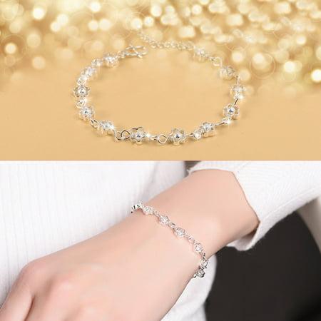 Fashion Adjustable Lovely Plum Blossom Ornaments Delicate Chain Female Bracelet - Silver