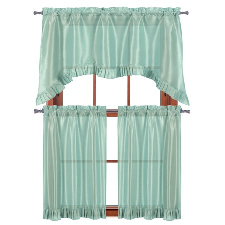 3 PC Window Curtain Set: Pleated Ruffle, 1 Swag Valance, 2-36