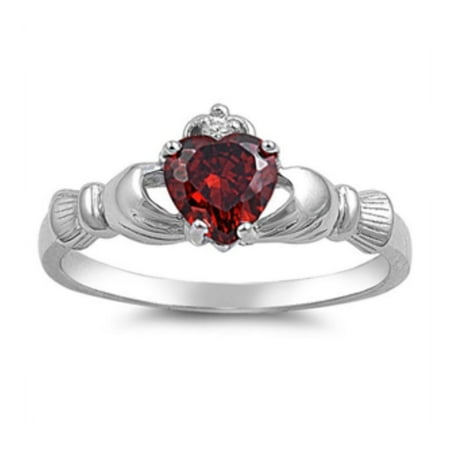 925 Sterling Silver Garnet Color Cubic Zirconia Claddagh Ring Design Garnet Ring