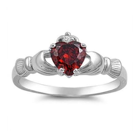 925 Sterling Silver Garnet Color Cubic Zirconia Claddagh Ring Garnet Sterling Silver Butterfly Ring