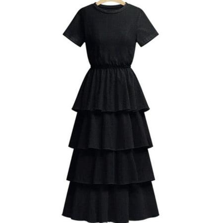 Women Short Sleeve Multi Layered Cake Dress