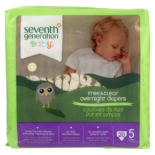 Seventh Generation Free And Clear Overnight Diapers - Stage 5 - Pack of 4 - 20 Count