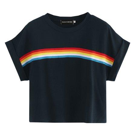 Rainbow Stripe Print (KABOER Women Fashion 2019 Rainbow Stripe Printed Crop Top Cute Gay T-Shirts Short Sleeve Homosexual Love Shirts Tops Tee)
