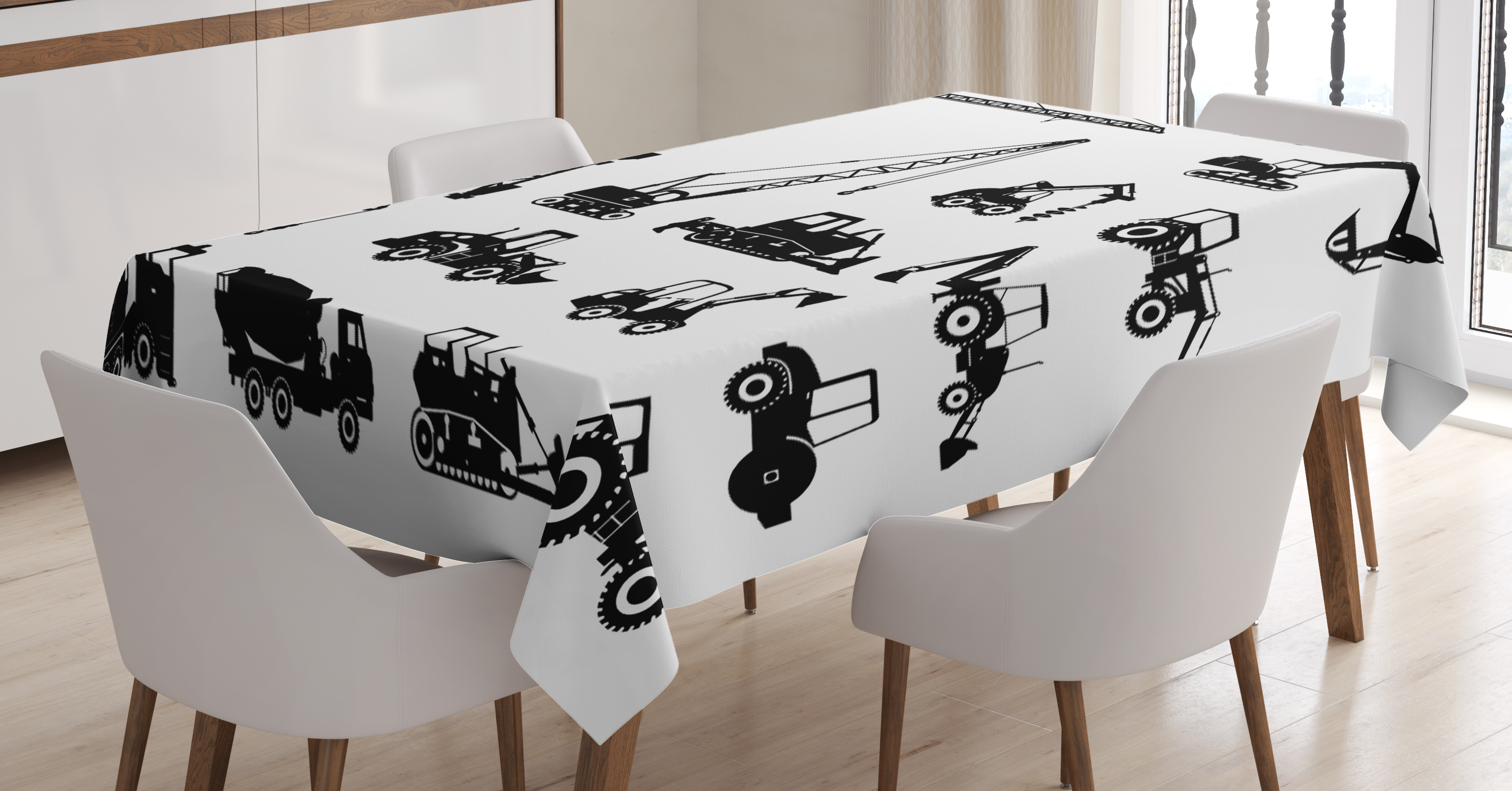 Construction Tablecloth, Black Silhouettes Concrete Mixer Machines Industrial Set Trucks Tractors, Rectangular Table... by Kozmos