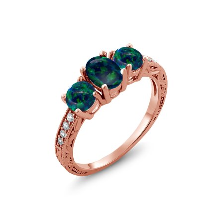 Cabochon Rose (1.75 Ct Oval Cabochon Green Simulated Opal 18K Rose Gold Plated Silver Ring)