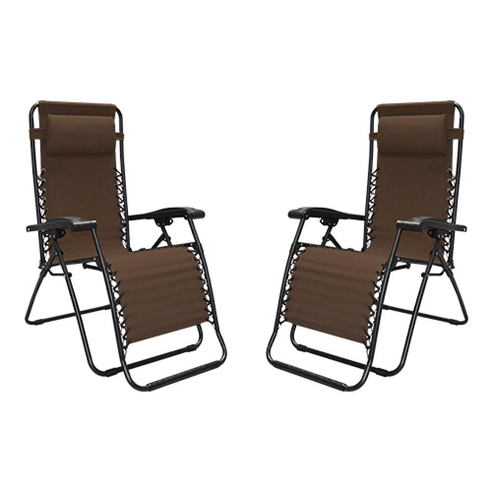 Caravan Canopy Portable Adjustable Infinity Zero Gravity Chair, Brown (2 Pack)