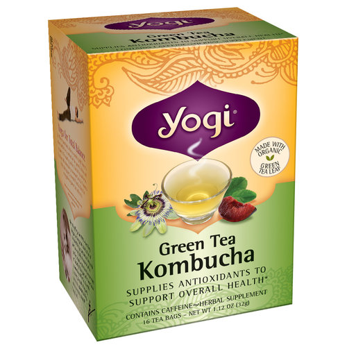 Yogi Green Tea Kombucha Herbal Supplement Tea Bags, 16 count, 1.12 oz