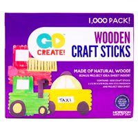 Go Create Natural Wood Craft Sticks, 1000 Count, Natural Wood