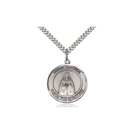 Solid 925 Sterling Silver Round Medal Pendant Saint St  Our Lady Rosa Mystica Pendant Our Lady Miraculous Protective Ol On A 24  Stainless Silver Curb Chain Necklace Gift Boxed