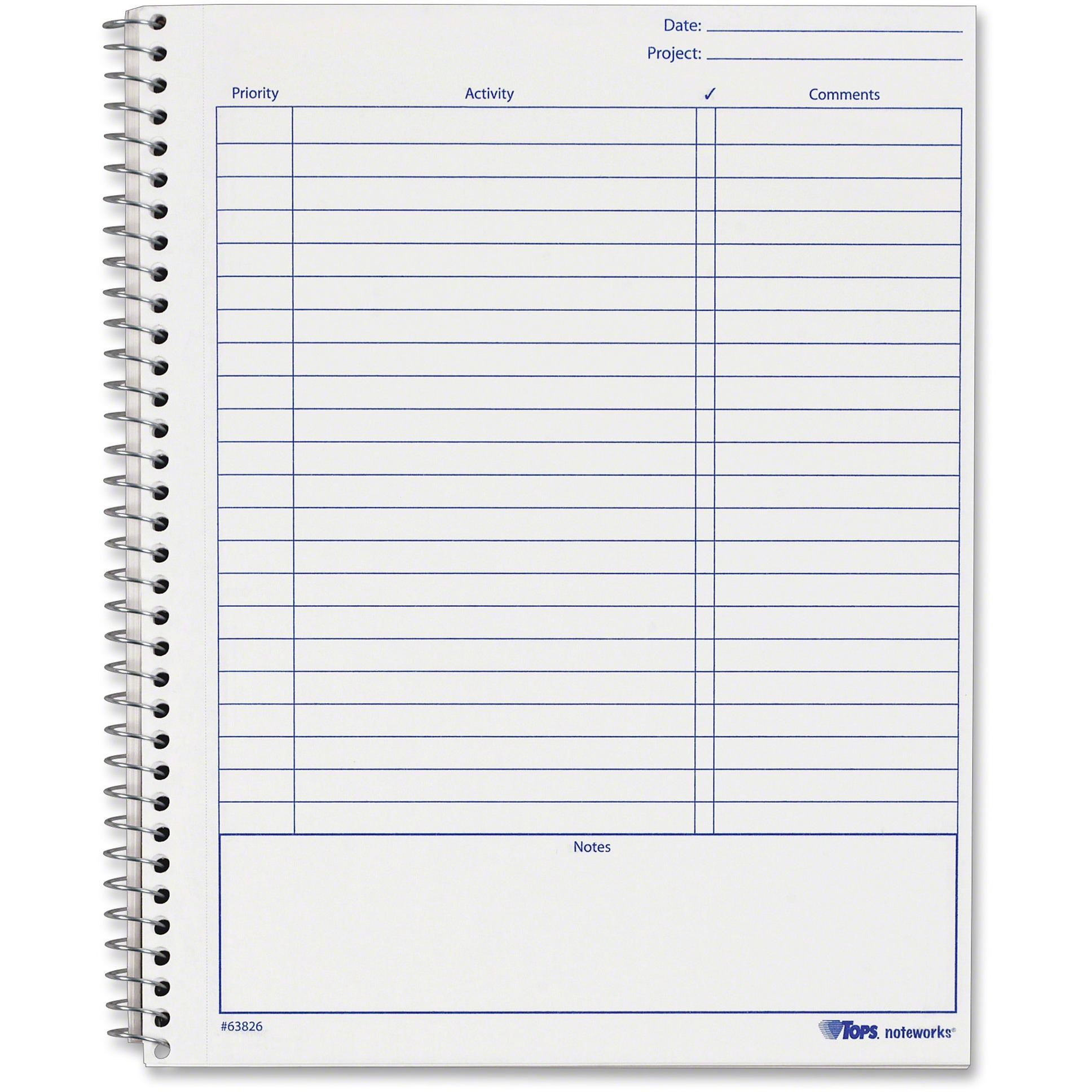 TOPS, TOP63826, Noteworks Project Planner, 1 Each