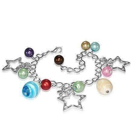 CLEARANCE - Star Studded Glass Bead Silver Charm Bracelet ~ Four Fun Colors to Choose!