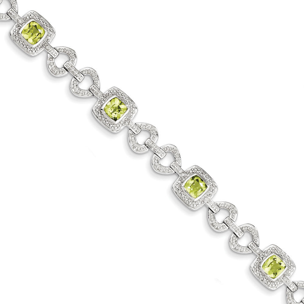 Sterling Silver Diamond and Peridot Bracelet .10 dwt 3.97 cwt by
