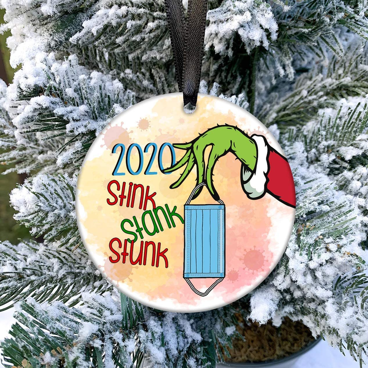 Popeven Grinch Hand 2020 Christmas Ornament Stink Stank Stunk 2020 Ceramic Ornament Holiday Flat Circle Ornament Holiday Xmas Decoration Gift 3 Walmart Com Walmart Com