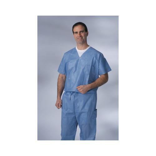 Medline Disposable VNeck Scrub Top,Blue,L NON27202L