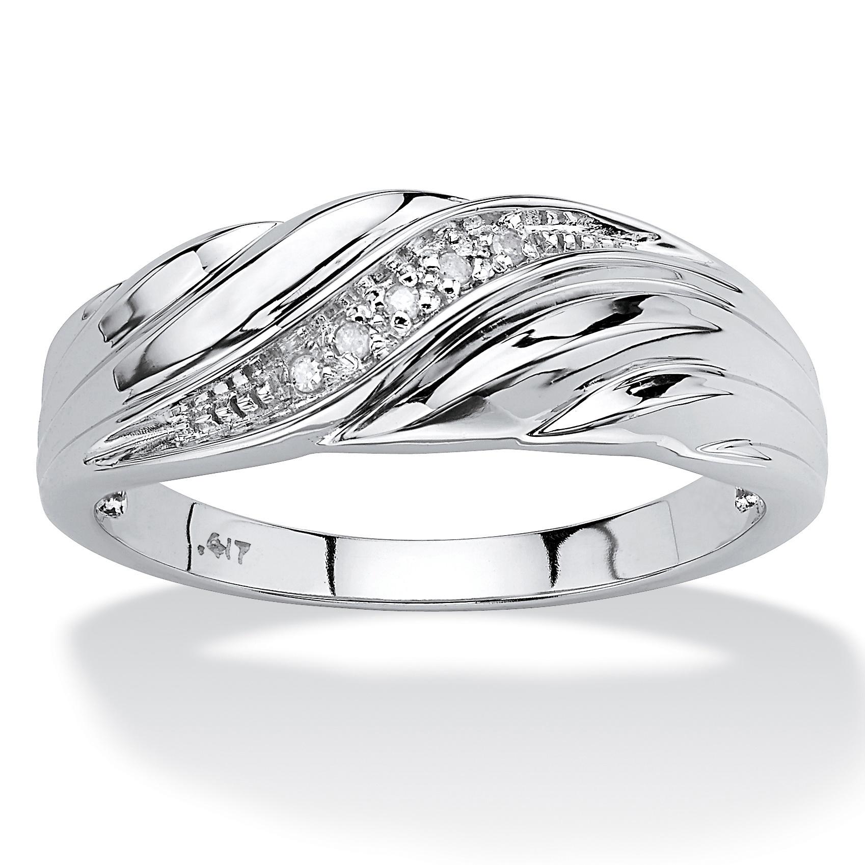 PalmBeach Men's Diamond Accent Solid 10k White Gold Swirl...