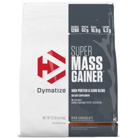 Dymatize Super Mass Gainer, High Protein & Carb Blend, Rich Chocolate, 52g Protein/Serving, 12