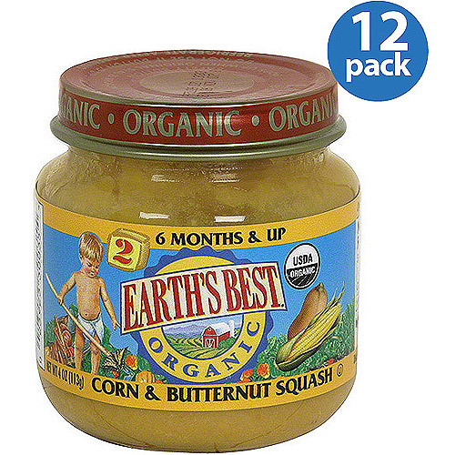 Earth's Best Stage 2 Organic Corn & Butternut Squash Baby Food, 4 oz (Pack of 12)