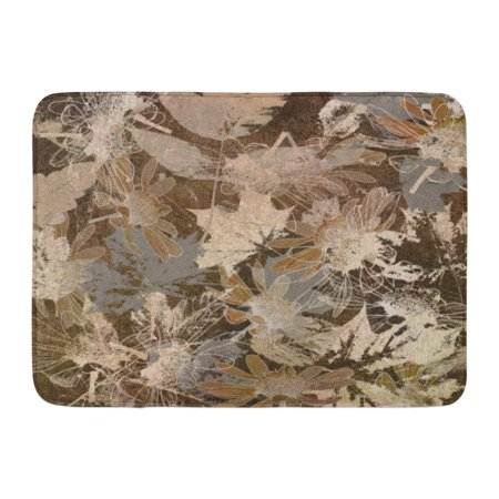 - GODPOK Aged Colorful Floral Graphic Autumn Leaves Monochrome in White Brown Beige and Grey Colors Wall Abstract Rug Doormat Bath Mat 23.6x15.7 inch
