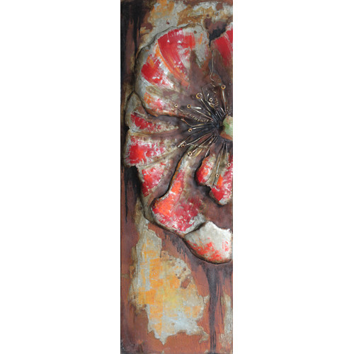 Empire Art Direct ''Red Poppy Detail'' Mixed Media Iron Hand Painted Dimensional Wall D cor
