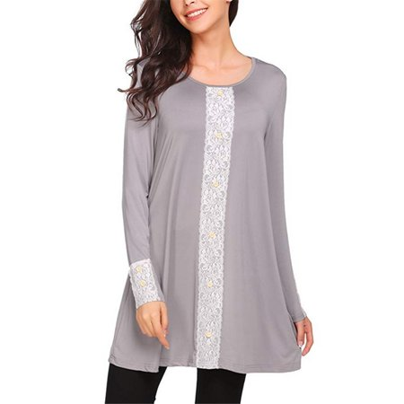 Women's Fashion Sexy Womens Clothing Round Neck Long Sleeve Lace Button Loose Casual Plus Size Cotton T-shirt Women's Fashion Sexy Womens Clothing Round Neck Long Sleeve Lace Button Loose Casual Plus Size Cotton T-shirt