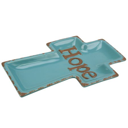 Stonebriar Collection Worn Turquoise Cross Shaped Ceramic HOPE Plate