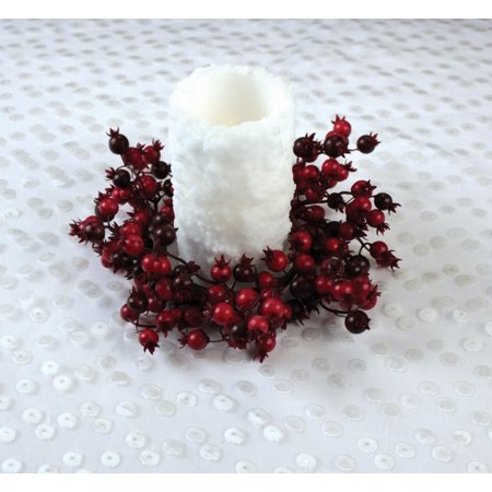 """9"""" Christmas Traditions Red and Burgundy Mixed Berry Pillar Candle Holder Ring"""
