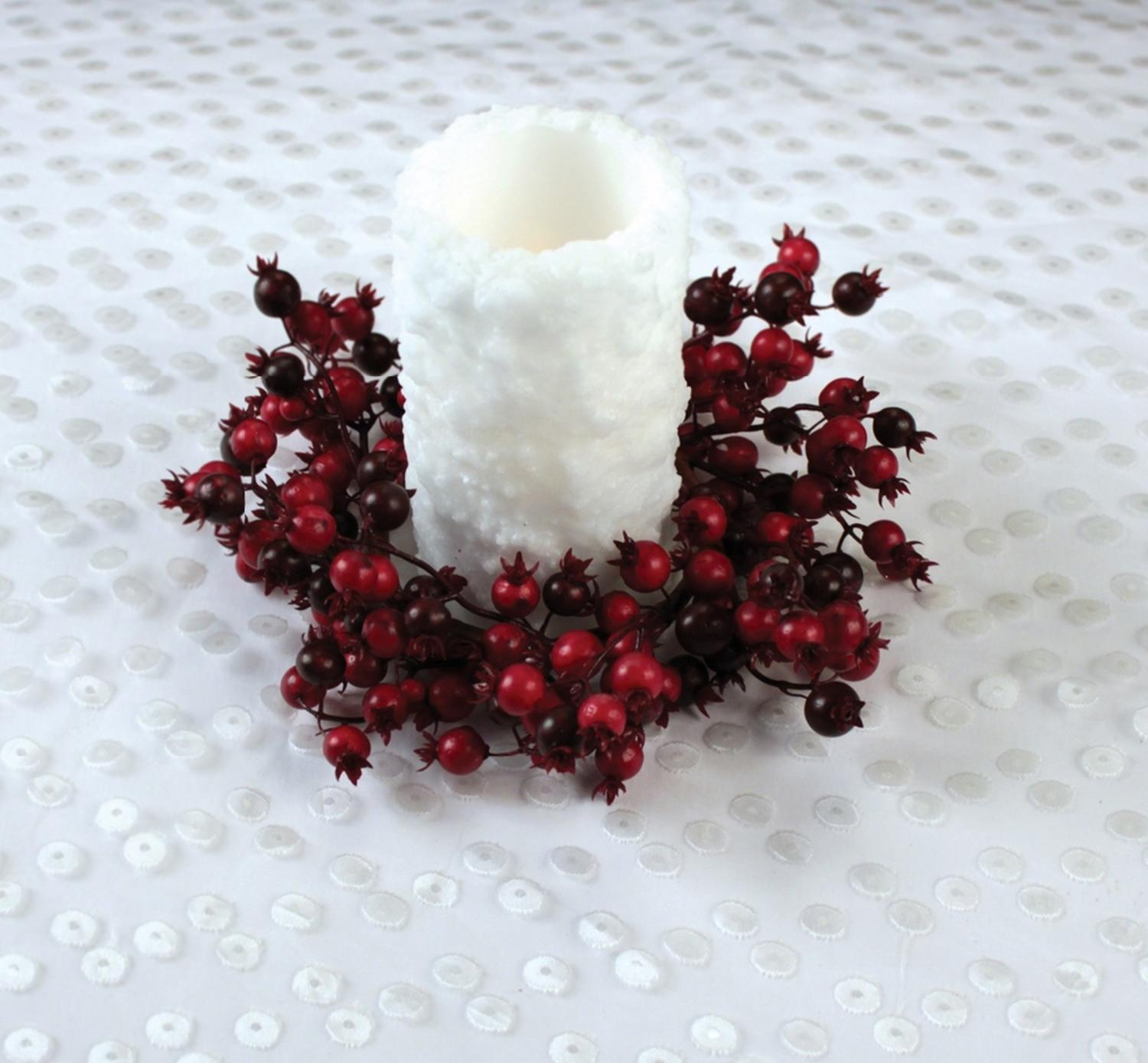 "9"" Christmas Traditions Red and Burgundy Mixed Berry Pillar Candle Holder Ring"