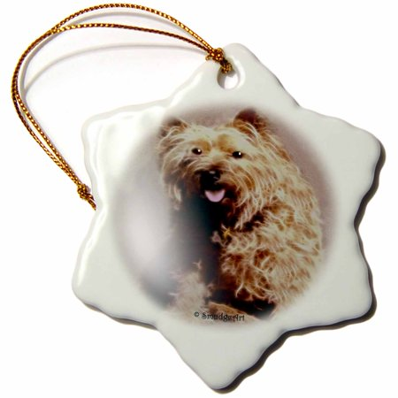 Cairn Terrier Silhouette - 3dRose Cairn Terrier, Snowflake Ornament, Porcelain, 3-inch
