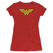 DC Comics Wonder Woman Logo Juniors Short Sleeve Shirt RED