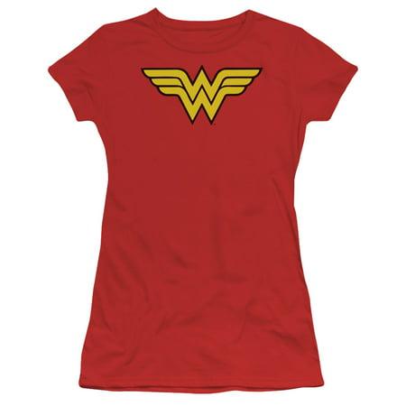 Dc - Wonder Woman Logo - Juniors Teen Girls Cap Sleeve Shirt - Medium