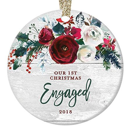 Modern Farmhouse Engagement Ornament 2018, 1st Christmas Engaged, Gift for Couple Bride & Groom to Be Rustic Present Ceramic Present 3